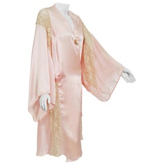 1920's Pale-Pink Silk & Ivory Embroidered Lace Angel Sleeve Lingerie Dress Robe