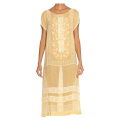 1920S  Pale Yellow Cotton Voile Beaded & Embroidered Gatsby Picnic Dress