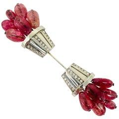 1920s Palladium Diamond and Pink Tourmaline Jabot Pin Brooch