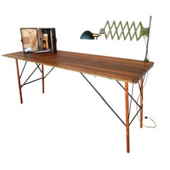 1920's Paper Hangers Work Table with Original Tools and Scissor Task Lamp