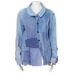 1920S French Blue Patchwork Cotton Denim Men's Tattered Workwear Jacket