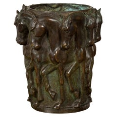 1920s Patinated Bronze Vase with Frieze of Passing Horses Cast in High Relief