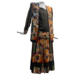 1920s Paul Poiret Original Fabric Art Deco Floral & Stripe Day Dress
