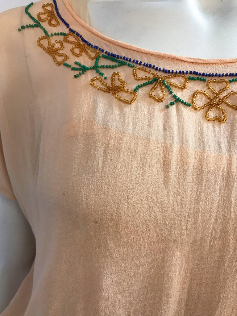 Peach Glass Beaded Drop waist Dress, 1920s  For Sale 1