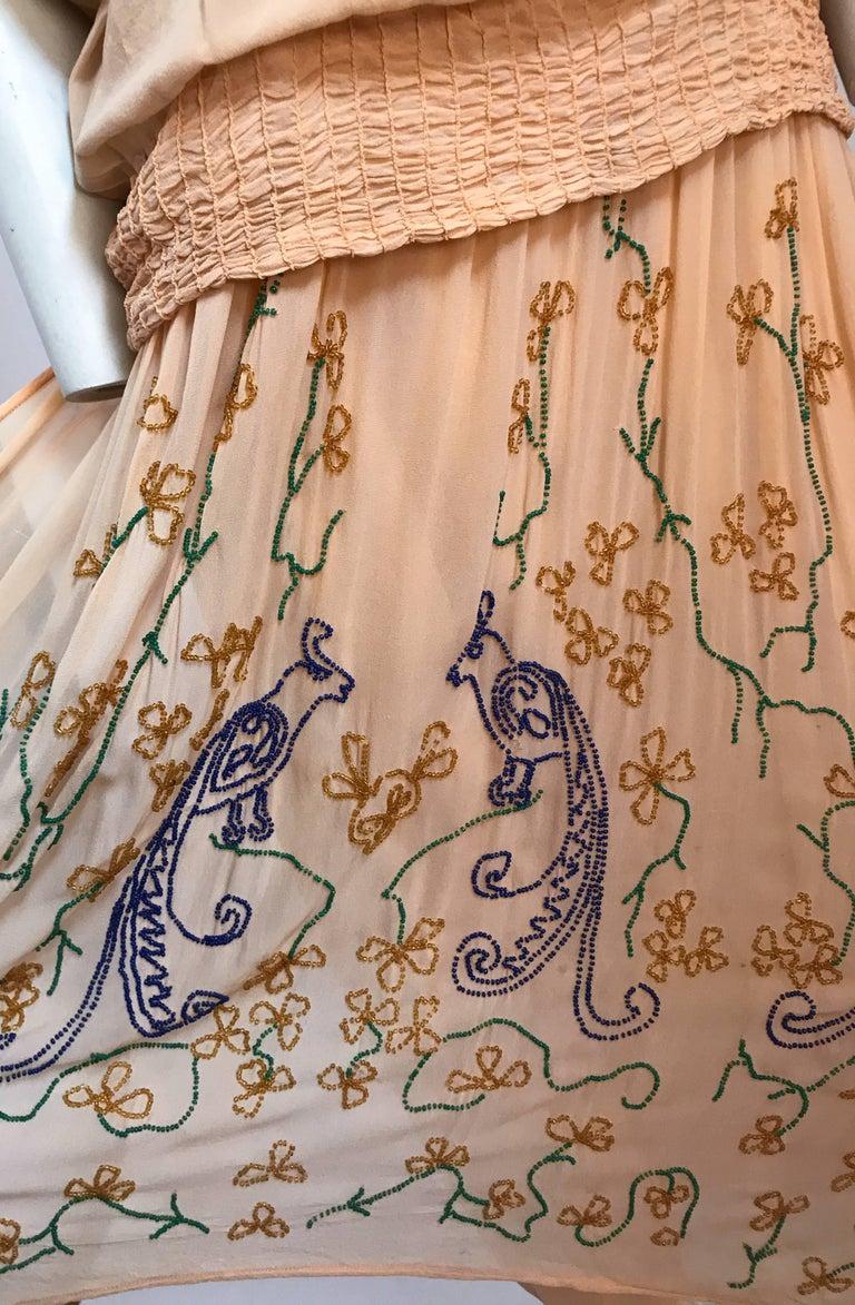 Peach Glass Beaded Drop waist Dress, 1920s  For Sale 2
