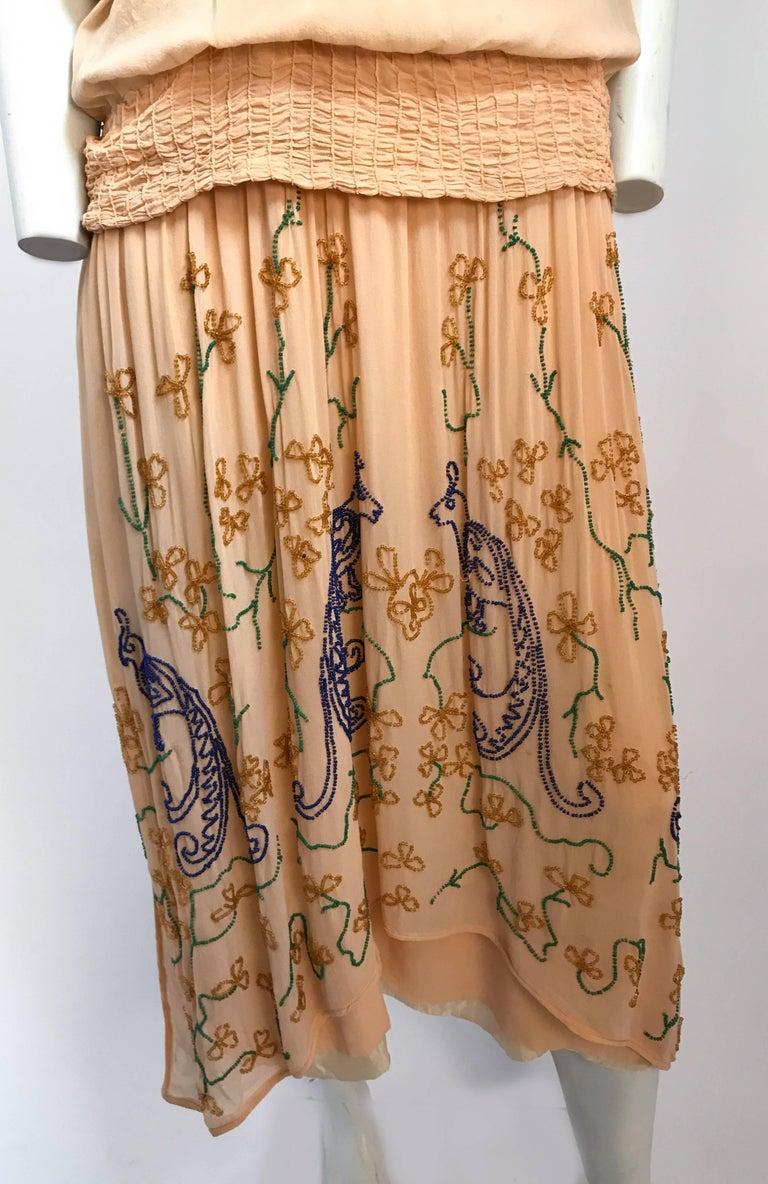 Peach Glass Beaded Drop waist Dress, 1920s For Sale at 1stdibs