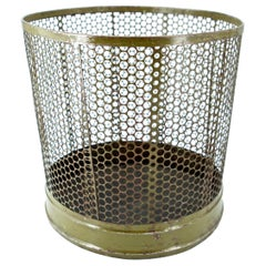 1920s Perforated Metal Industrial Factory Office Wastebasket Trash Can Green