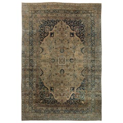 1920s Persian Kirman Beige, Brown and Black Handmade Wool Rug