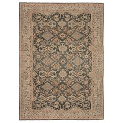 1920s Persian Sultanabad Handwoven Wool Rug in Beige, Gray and Brown