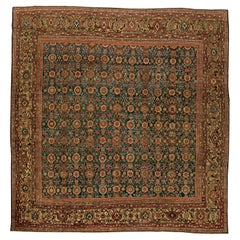 1920s Persian Sultanabad Red, Brown and Beige Handwoven Wool Rug