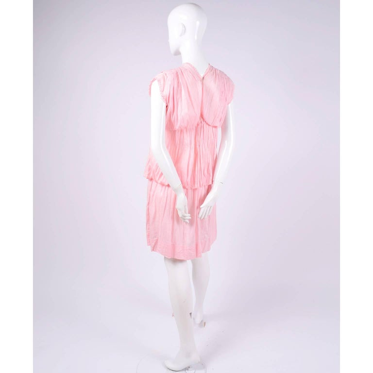 1920s Pink Dress in Grecian Style Fine Cotton Voile With Satin Rope Cord In Excellent Condition For Sale In Portland, OR