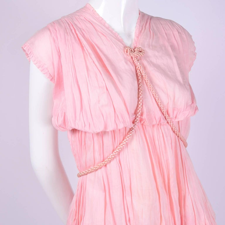 1920s Pink Dress in Grecian Style Fine Cotton Voile With Satin Rope Cord For Sale 1