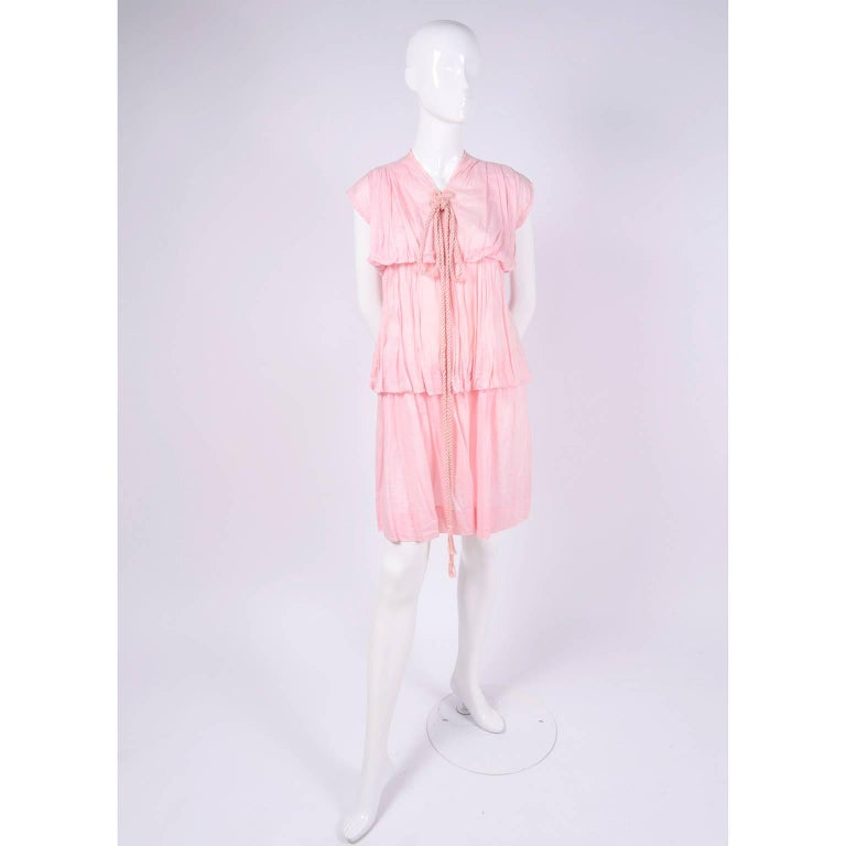 1920s Pink Dress in Grecian Style Fine Cotton Voile With Satin Rope Cord For Sale 2