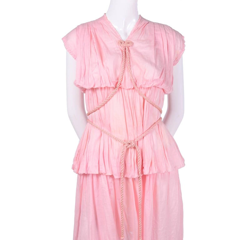 1920s Pink Dress in Grecian Style Fine Cotton Voile With Satin Rope Cord For Sale 3