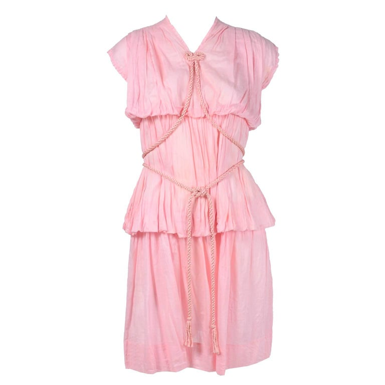 1920s Pink Dress in Grecian Style Fine Cotton Voile With Satin Rope Cord For Sale