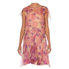1920S Pink & Purple Silk Chiffon Floral Back Lace Cape Dress