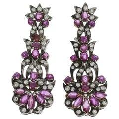 1920s Pink Sapphire Diamond Silver Dangle Earrings