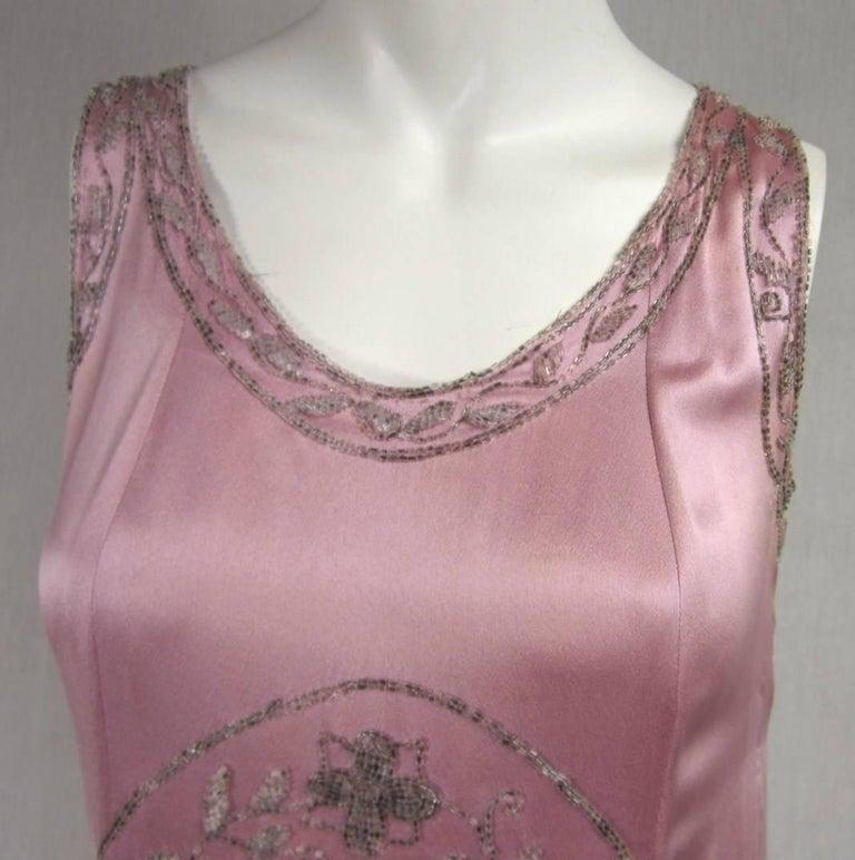 Brown 1920s Pink Silk Dress Hand Beaded