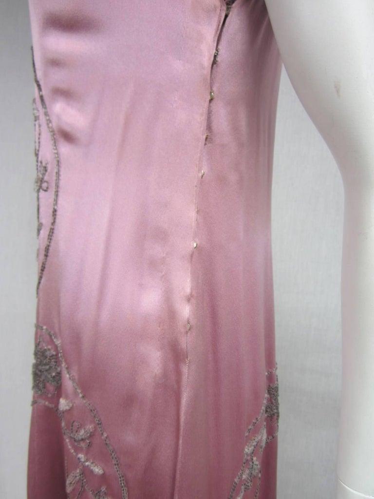 Women's 1920s Pink Silk Dress Hand Beaded