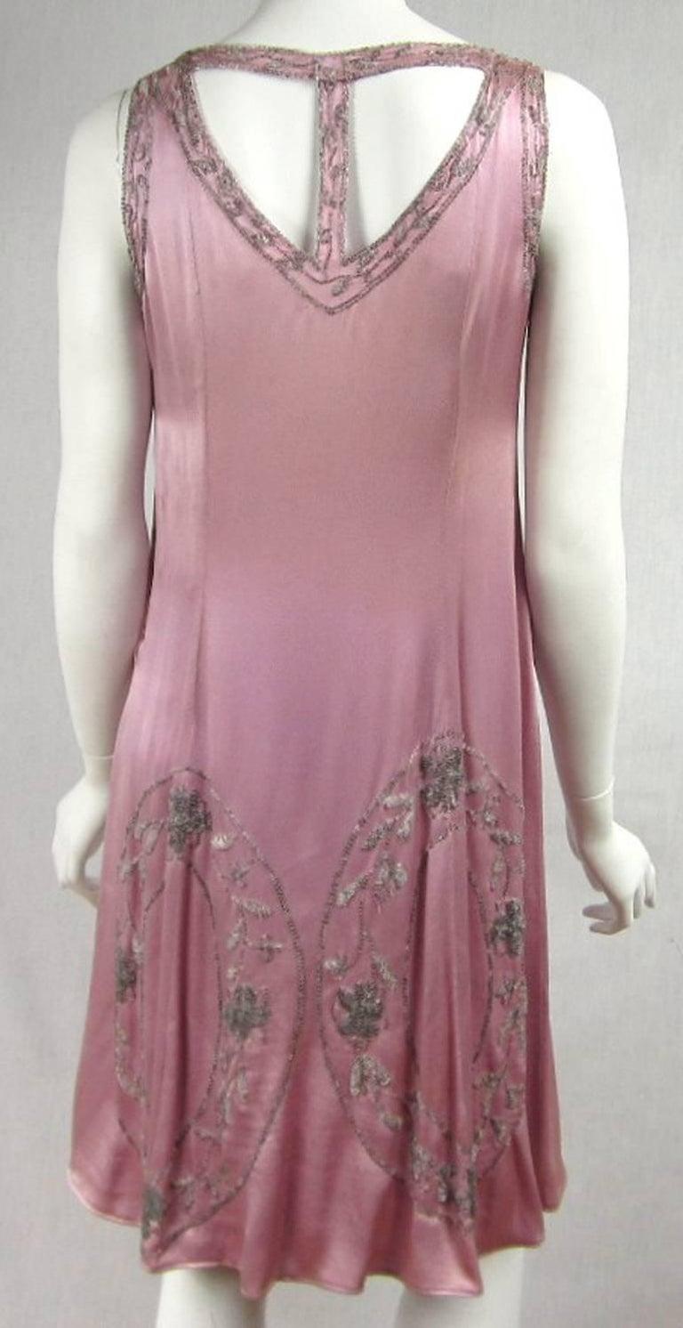 1920s Pink Silk Dress Hand Beaded