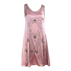 "1920s Pink Silk Dress Hand Beaded ""Gatsby"" Flapper Dress"