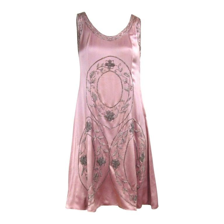 """1920s Pink Silk Dress Hand Beaded """"Gatsby"""" Flapper Dress For Sale"""