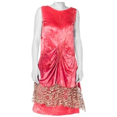 1920S Pink Silk Velvet Draped Cocktail Dress With Silver Lame Lace
