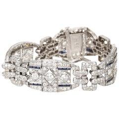 1920s Platinum 15 Carat Diamond and 1 Carat Sapphire Bracelet