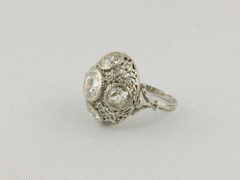 Old Mine Cut 1920s Platinum and Diamond Engagement Ring For Sale