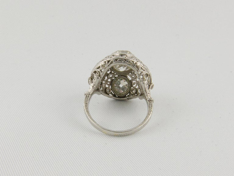 Women's 1920s Platinum and Diamond Engagement Ring For Sale