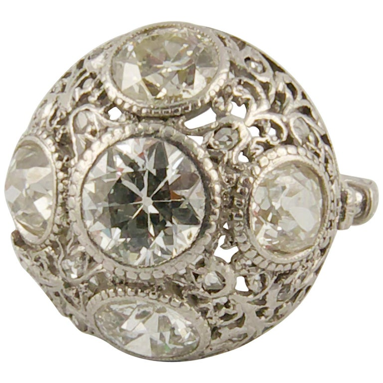 1920s Platinum and Diamond Engagement Ring For Sale