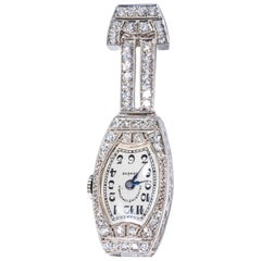 1920s Platinum Art Deco Vacheron Constantin Diamond Set Lapel or Necklace Watch