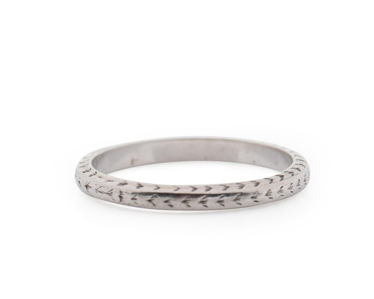 1920s Platinum Art Deco Wedding Band In Excellent Condition For Sale In Hicksville, NY