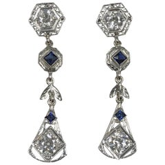 1920s Platinum Diamond and Sapphire Long Dangle Earrings