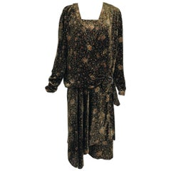 1920s Printed Silk Velvet Long Sleeve Drop Waist Flapper Dress