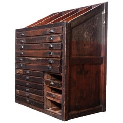 1920s Printers Cabinet / Drawer Unit with Complete Original Letterpress Typogra