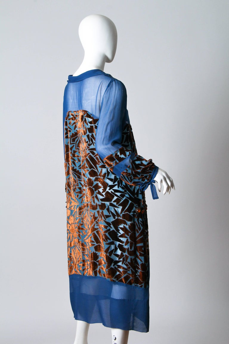 Purple 1920s Raoul Dufy style Silk Velvet Dress For Sale