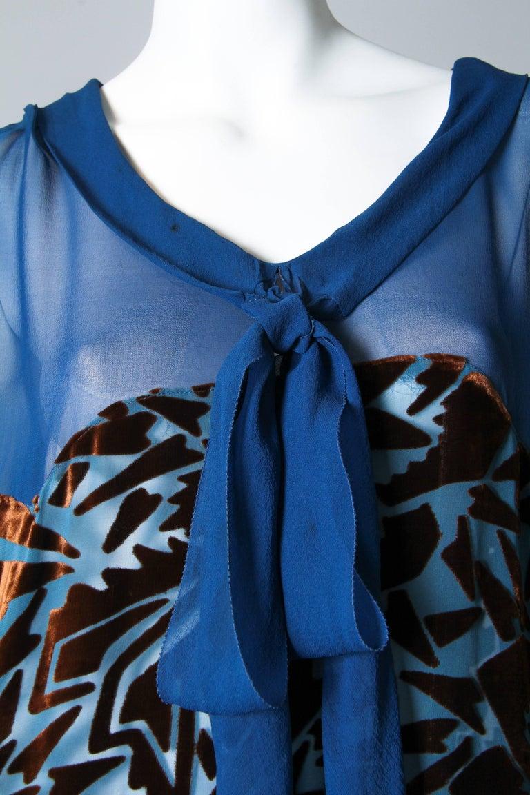 Women's 1920s Raoul Dufy style Silk Velvet Dress For Sale