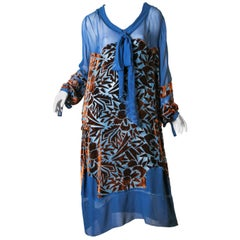 1920s Raoul Dufy style Silk Velvet Dress