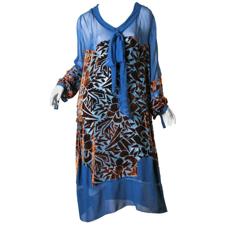1920s Raoul Dufy style Silk Velvet Dress For Sale