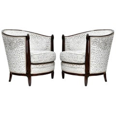 1920s Rare Art Deco Pair of Round Back Armchairs French Design by Paul Follot