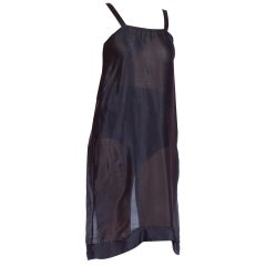 1920's rare Navy Blue Silk Slip Sheer Lace Chiffon Dress