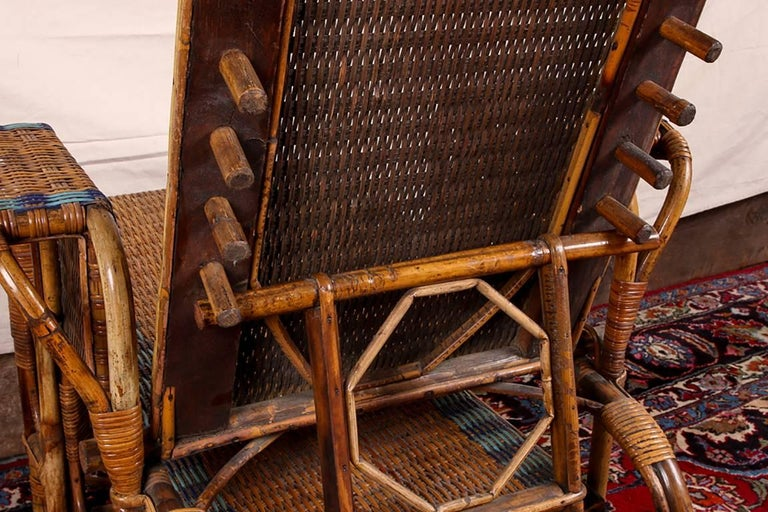 1920s Rattan and Wicker Lounge Chair with Ottoman For Sale 5