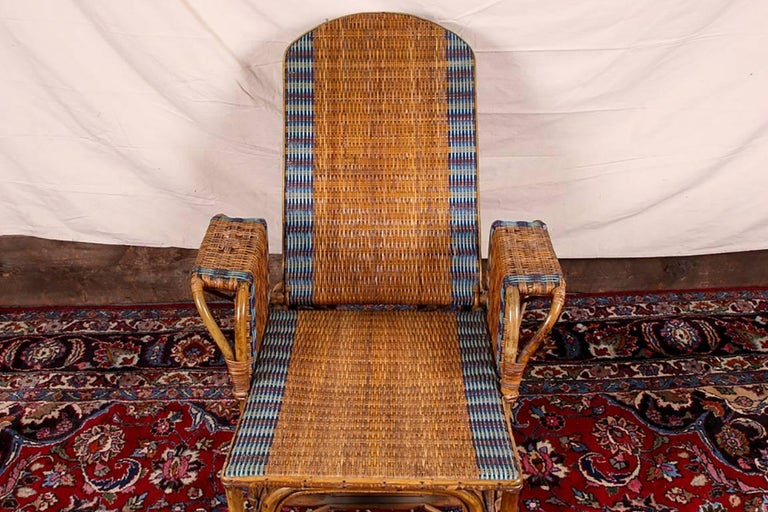 1920s Rattan and Wicker Lounge Chair with Ottoman For Sale 1