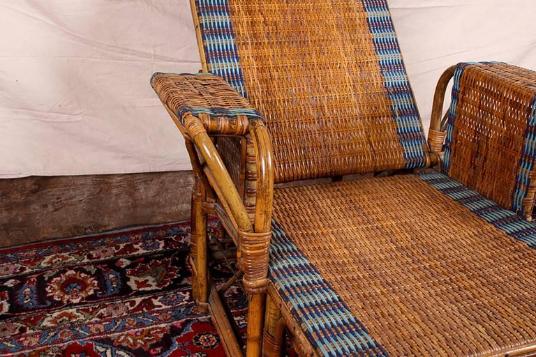 1920s Rattan and Wicker Lounge Chair with Ottoman For Sale 2
