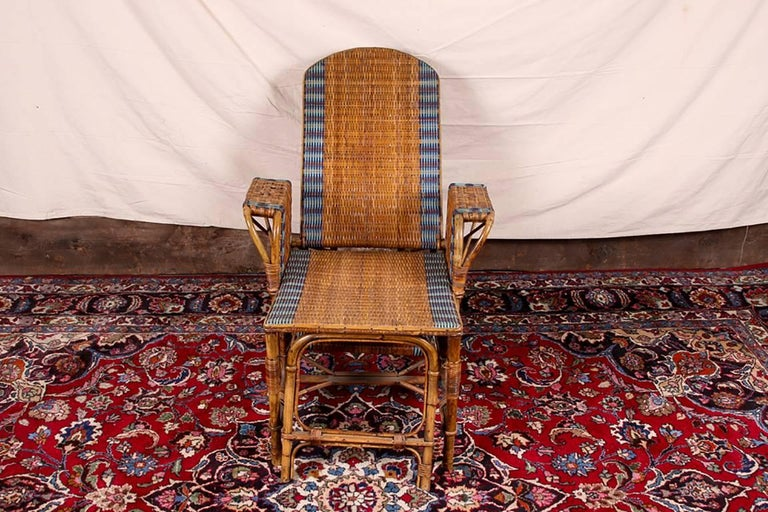 1920s Rattan and Wicker Lounge Chair with Ottoman For Sale 3