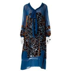 1920S RAUOL DUFY Style Blue & Brown Silk Velvet  Burnout Bow Neck Dress With Bej