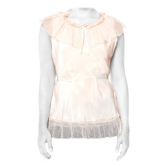 1920s Rayon, Net Lingerie Top With