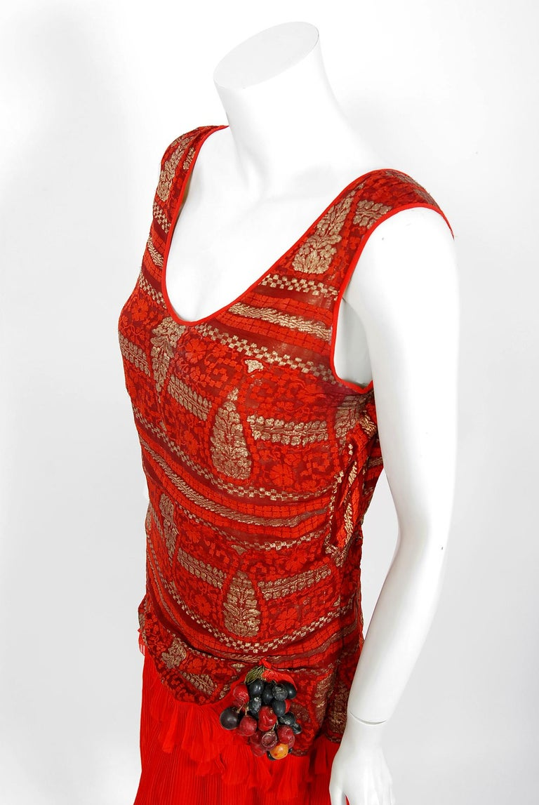 Women's 1920's Red & Metallic Gold Print Lamé Asymmetric Pleated Chiffon Flapper Dress For Sale