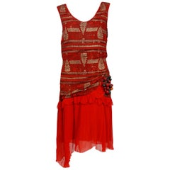 1920's Red & Metallic Gold Print Lamé Asymmetric Pleated Chiffon Flapper Dress